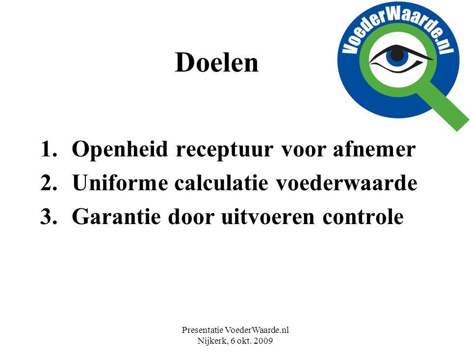 Presentatie VoederWaarde.nl Nijkerk, 6 okt. 2009 Doelen 1.Openheid receptuur voor afnemer 2.Uniforme calculatie voederwaarde 3.Garantie door uitvoeren