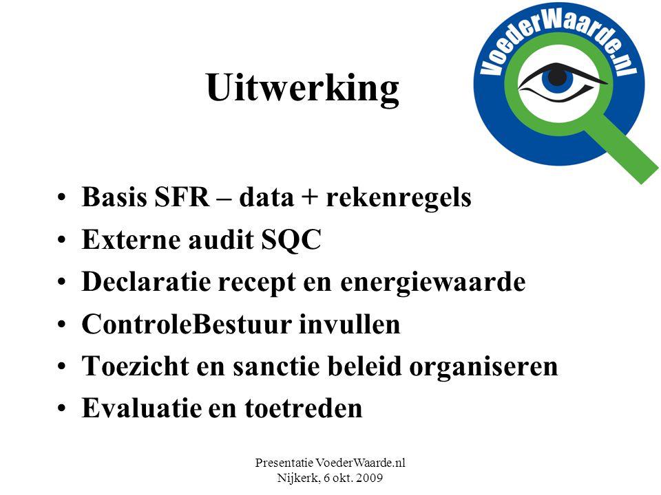 Presentatie VoederWaarde.nl Nijkerk, 6 okt. 2009 Uitwerking Basis SFR – data + rekenregels Externe audit SQC Declaratie recept en energiewaarde Contro