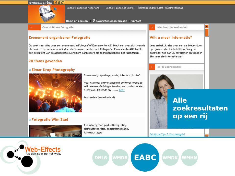 EABC WMDK WMHG DNLS Alle zoekresultaten op een rij WMDB