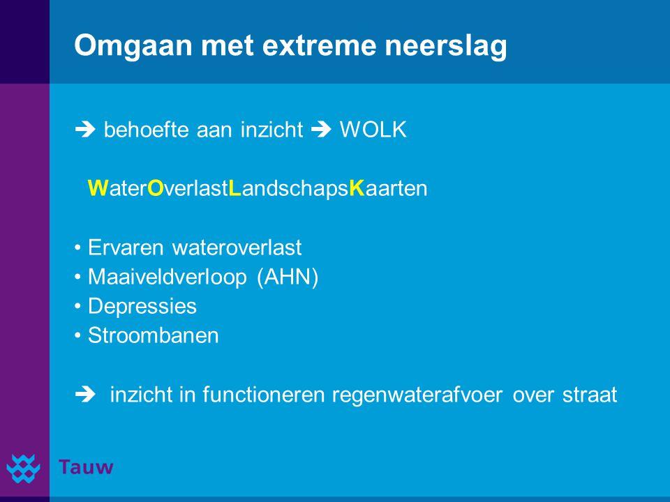 Omgaan met extreme neerslag  behoefte aan inzicht  WOLK WaterOverlastLandschapsKaarten Ervaren wateroverlast Maaiveldverloop (AHN) Depressies Stroom