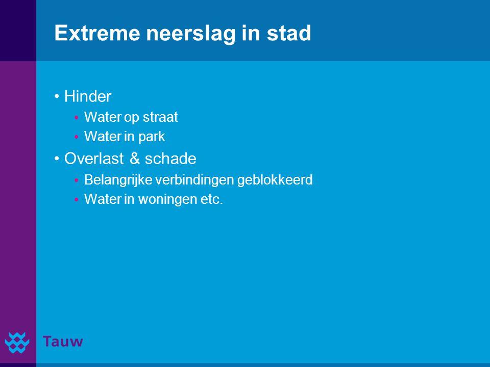 Extreme neerslag in stad Hinder Water op straat Water in park Overlast & schade Belangrijke verbindingen geblokkeerd Water in woningen etc.