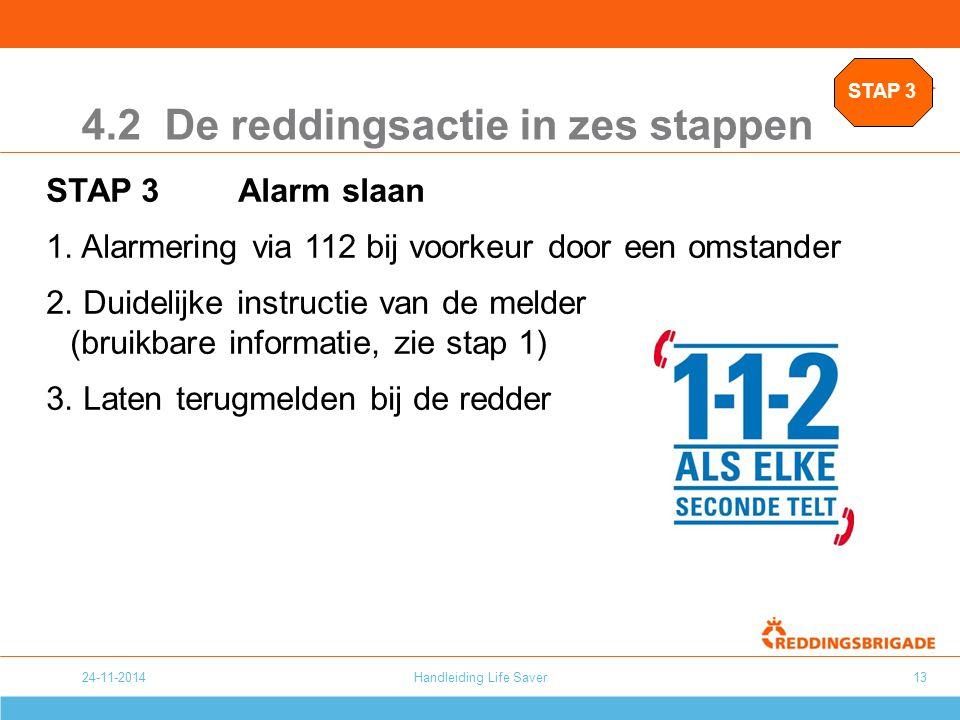 24-11-2014Handleiding Life Saver13 4.2 De reddingsactie in zes stappen STAP 3Alarm slaan 1. Alarmering via 112 bij voorkeur door een omstander 2. Duid