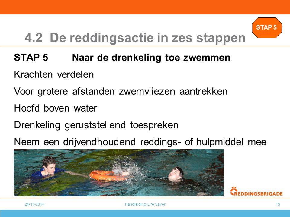 24-11-2014Handleiding Life Saver15 4.2 De reddingsactie in zes stappen STAP 5Naar de drenkeling toe zwemmen Krachten verdelen Voor grotere afstanden z