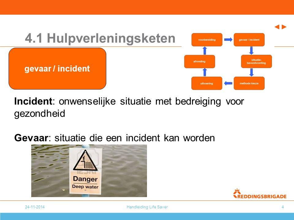 24-11-2014Handleiding Life Saver4 4.1 Hulpverleningsketen Incident: onwenselijke situatie met bedreiging voor gezondheid Gevaar: situatie die een inci