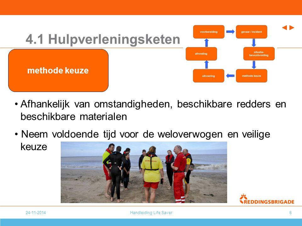 24-11-2014Handleiding Life Saver6 4.1 Hulpverleningsketen Afhankelijk van omstandigheden, beschikbare redders en beschikbare materialen Neem voldoende