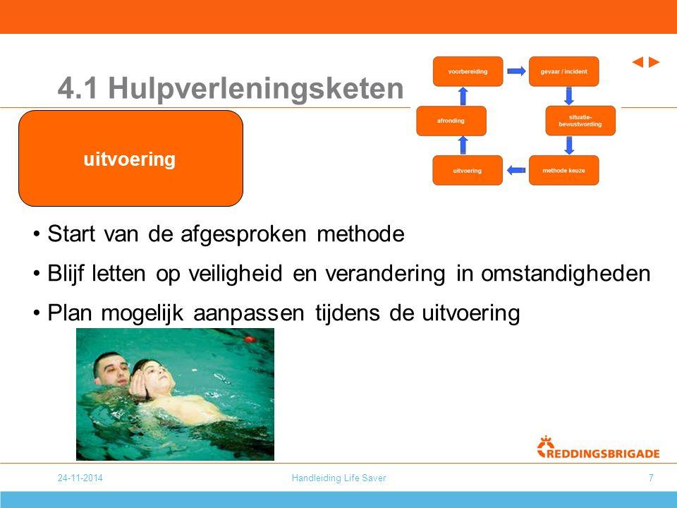 24-11-2014Handleiding Life Saver7 4.1 Hulpverleningsketen Start van de afgesproken methode Blijf letten op veiligheid en verandering in omstandigheden