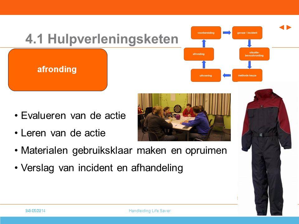 24-11-20149-5-2012Handleiding Life Saver8 4.1 Hulpverleningsketen Evalueren van de actie Leren van de actie Materialen gebruiksklaar maken en opruimen Verslag van incident en afhandeling afronding
