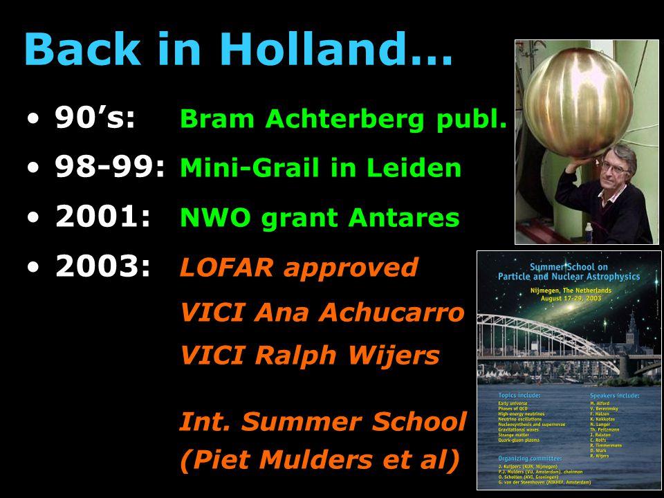 90's: Bram Achterberg publ. 98-99: Mini-Grail in Leiden 2001: NWO grant Antares 2003: LOFAR approved VICI Ana Achucarro VICI Ralph Wijers Int. Summer