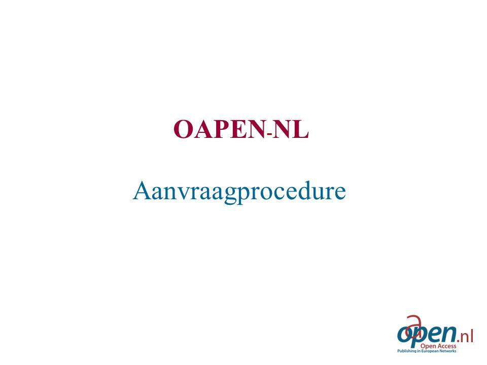 OAPEN - NL Aanvraagprocedure