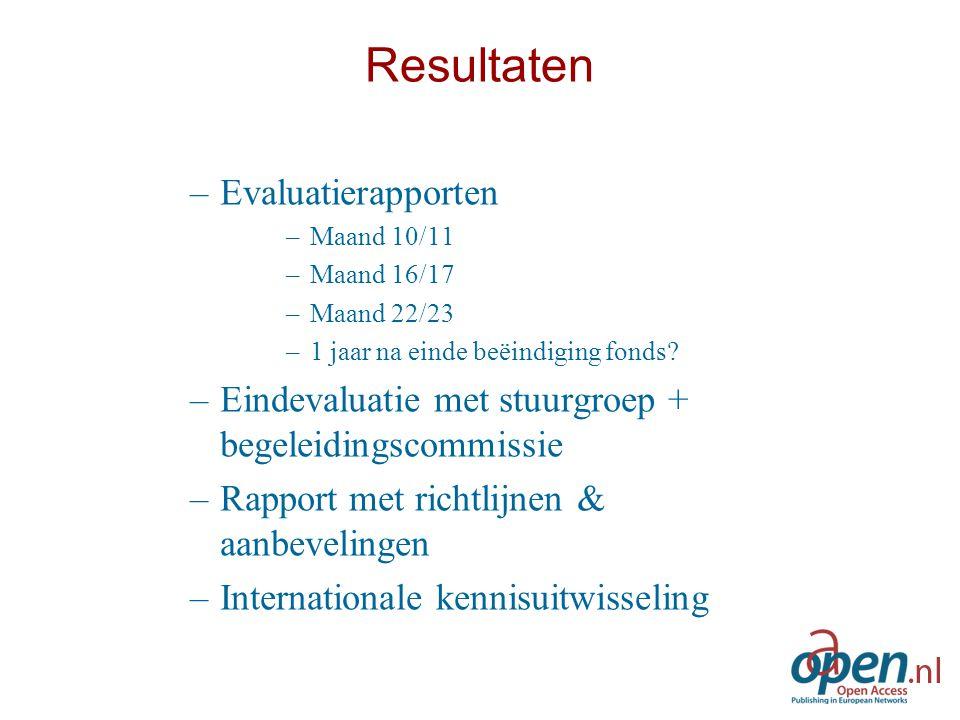 Resultaten –Evaluatierapporten –Maand 10/11 –Maand 16/17 –Maand 22/23 –1 jaar na einde beëindiging fonds.