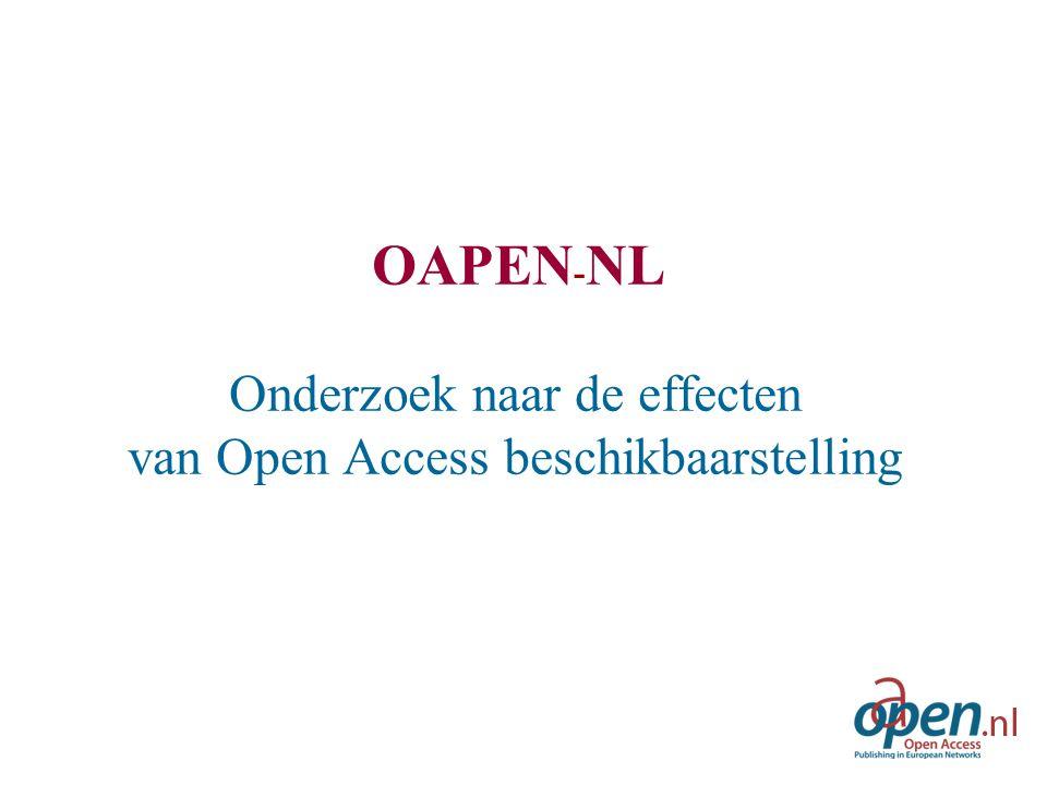 OAPEN - NL Onderzoek naar de effecten van Open Access beschikbaarstelling