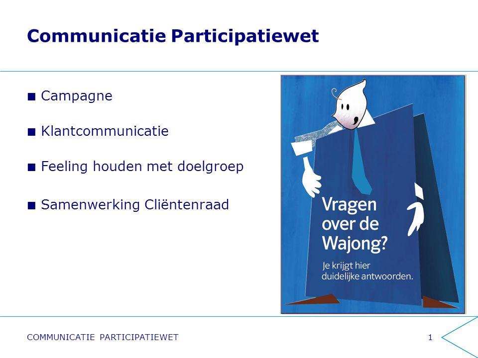 Communicatie Participatiewet Campagne Klantcommunicatie Feeling houden met doelgroep Samenwerking Cliëntenraad 1COMMUNICATIE PARTICIPATIEWET