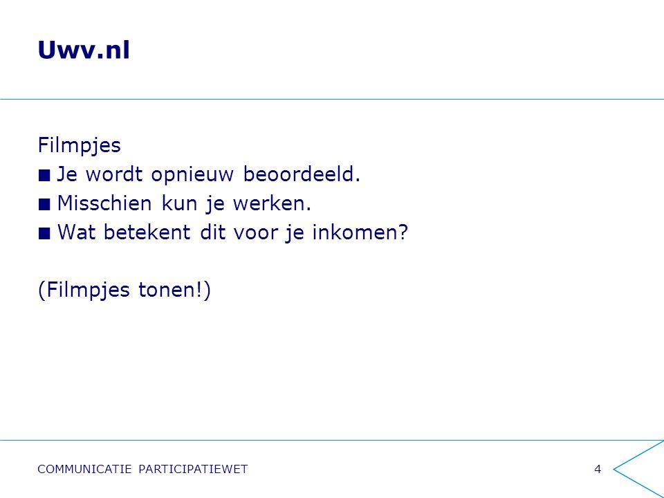 Uwv.nl 4COMMUNICATIE PARTICIPATIEWET Filmpjes Je wordt opnieuw beoordeeld. Misschien kun je werken. Wat betekent dit voor je inkomen? (Filmpjes tonen!