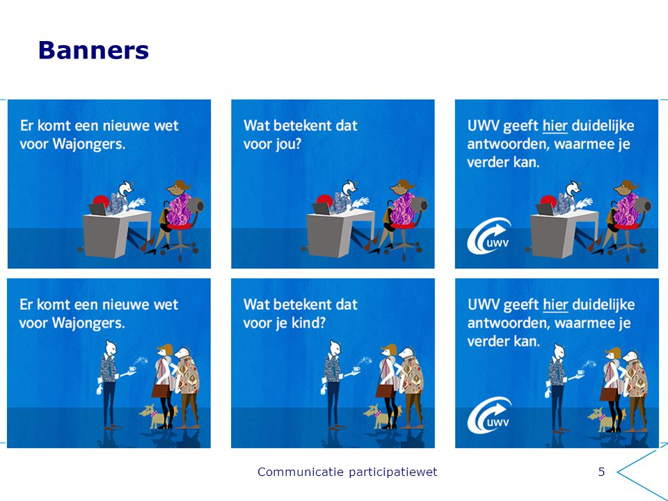 Banners 5 MailingsFilmpjes Informatie- markt Samenwerking partners Communicatie participatiewet