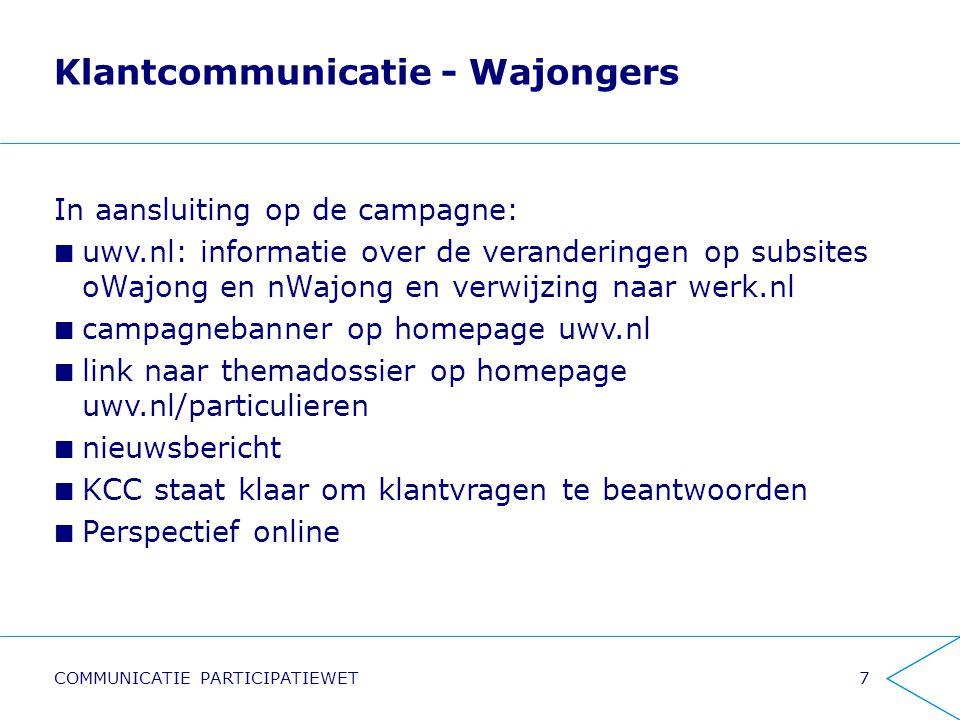 Klantcommunicatie - Wajongers In aansluiting op de campagne: uwv.nl: informatie over de veranderingen op subsites oWajong en nWajong en verwijzing naar werk.nl campagnebanner op homepage uwv.nl link naar themadossier op homepage uwv.nl/particulieren nieuwsbericht KCC staat klaar om klantvragen te beantwoorden Perspectief online 7COMMUNICATIE PARTICIPATIEWET