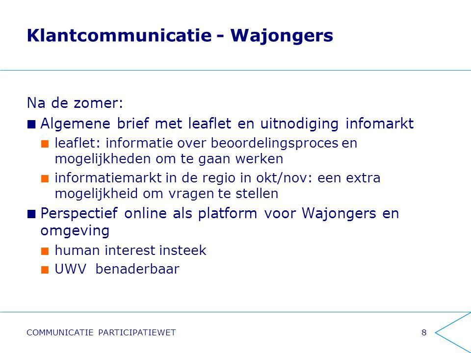 Klantcommunicatie - Wajongers Na de zomer: Algemene brief met leaflet en uitnodiging infomarkt leaflet: informatie over beoordelingsproces en mogelijk