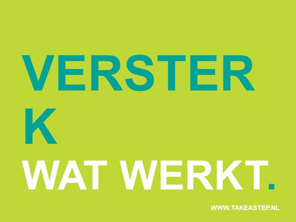 VERSTER K WAT WERKT. WWW.TAKEASTEP.NL