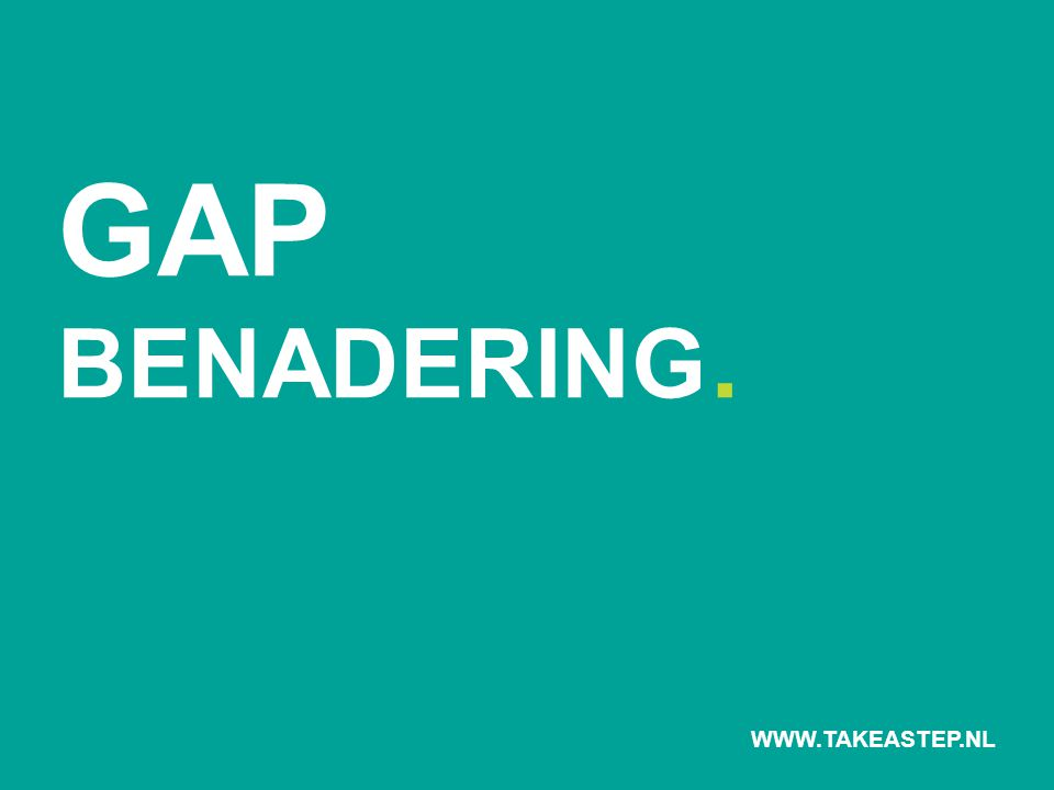 GAP BENADERING. WWW.TAKEASTEP.NL