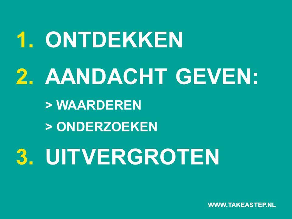 1. ONTDEKKEN 2.AANDACHT GEVEN: > WAARDEREN > ONDERZOEKEN 3. UITVERGROTEN WWW.TAKEASTEP.NL