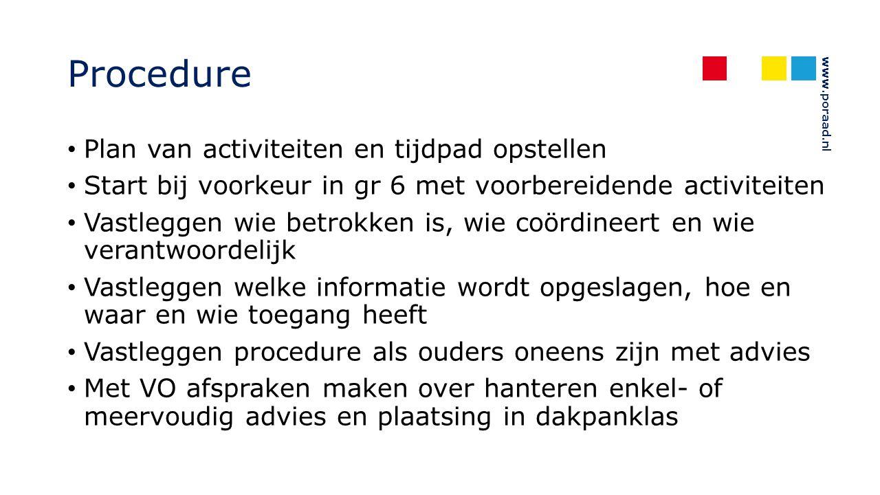 www.poraad.nl Procedure Plan van activiteiten en tijdpad opstellen Start bij voorkeur in gr 6 met voorbereidende activiteiten Vastleggen wie betrokken