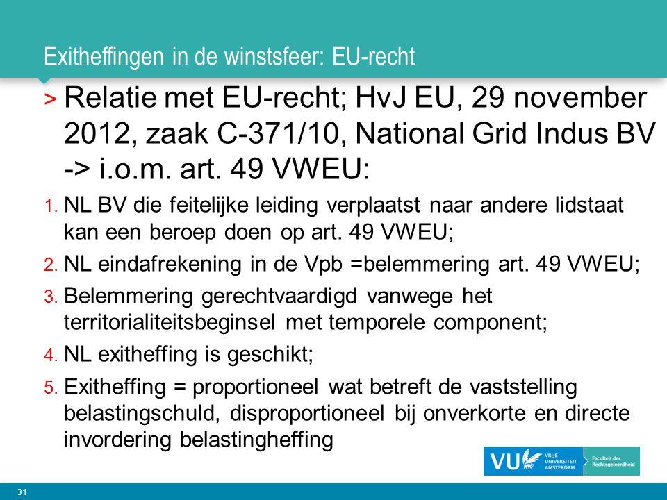31 Exitheffingen in de winstsfeer: EU-recht > Relatie met EU-recht; HvJ EU, 29 november 2012, zaak C-371/10, National Grid Indus BV -> i.o.m. art. 49