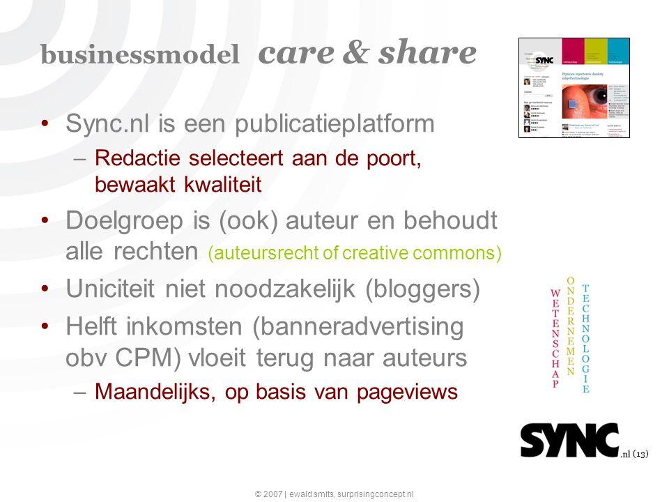 © 2007 | ewald smits, surprisingconcept.nl (13) businessmodel care & share Sync.nl is een publicatieplatform –Redactie selecteert aan de poort, bewaakt kwaliteit Doelgroep is (ook) auteur en behoudt alle rechten (auteursrecht of creative commons) Uniciteit niet noodzakelijk (bloggers) Helft inkomsten (banneradvertising obv CPM) vloeit terug naar auteurs –Maandelijks, op basis van pageviews