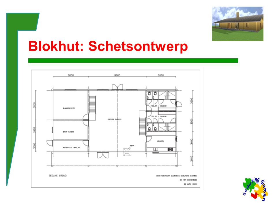 Blokhut: 3D Afronding van de bouwvoorbereiding Bijlage: het Financieringsplan Besluitvorming in de groep Aanvragen van fondsen of sponsoring De indeling van deze presentatie kun je gebruiken