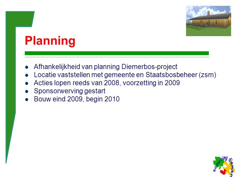 Planning Afhankelijkheid van planning Diemerbos-project Locatie vaststellen met gemeente en Staatsbosbeheer (zsm) Acties lopen reeds van 2008, voorzetting in 2009 Sponsorwerving gestart Bouw eind 2009, begin 2010