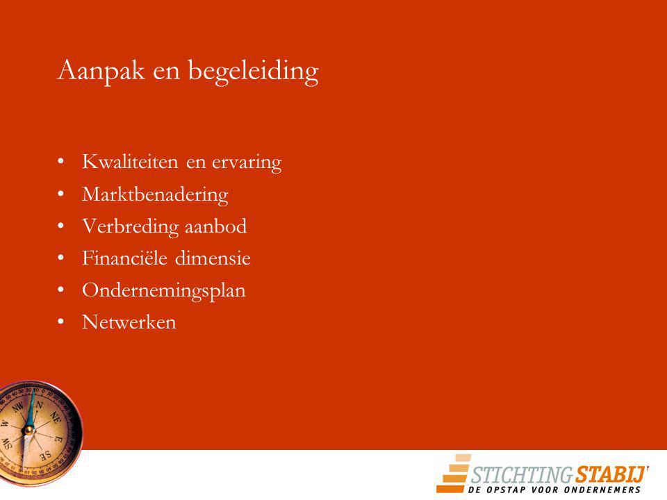 Aanpak en begeleiding Kwaliteiten en ervaring Marktbenadering Verbreding aanbod Financiële dimensie Ondernemingsplan Netwerken