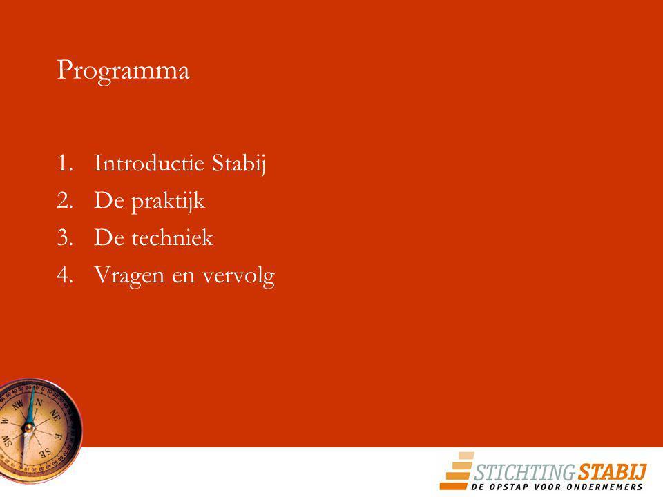 Programma 1.Introductie Stabij 2.De praktijk 3.De techniek 4.Vragen en vervolg