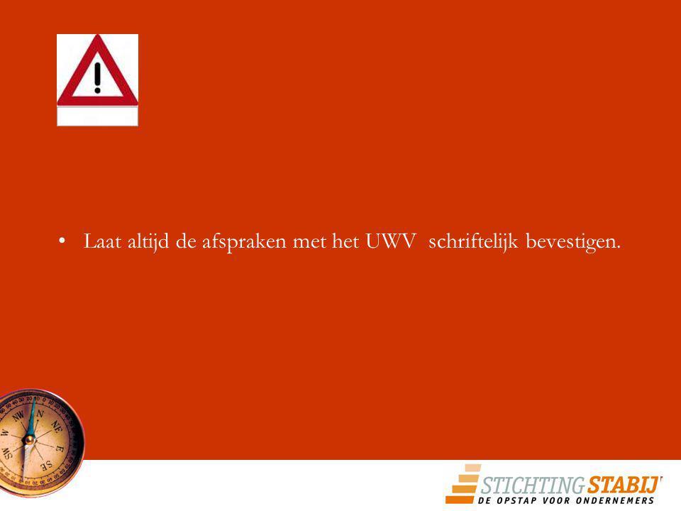 Laat altijd de afspraken met het UWV schriftelijk bevestigen.
