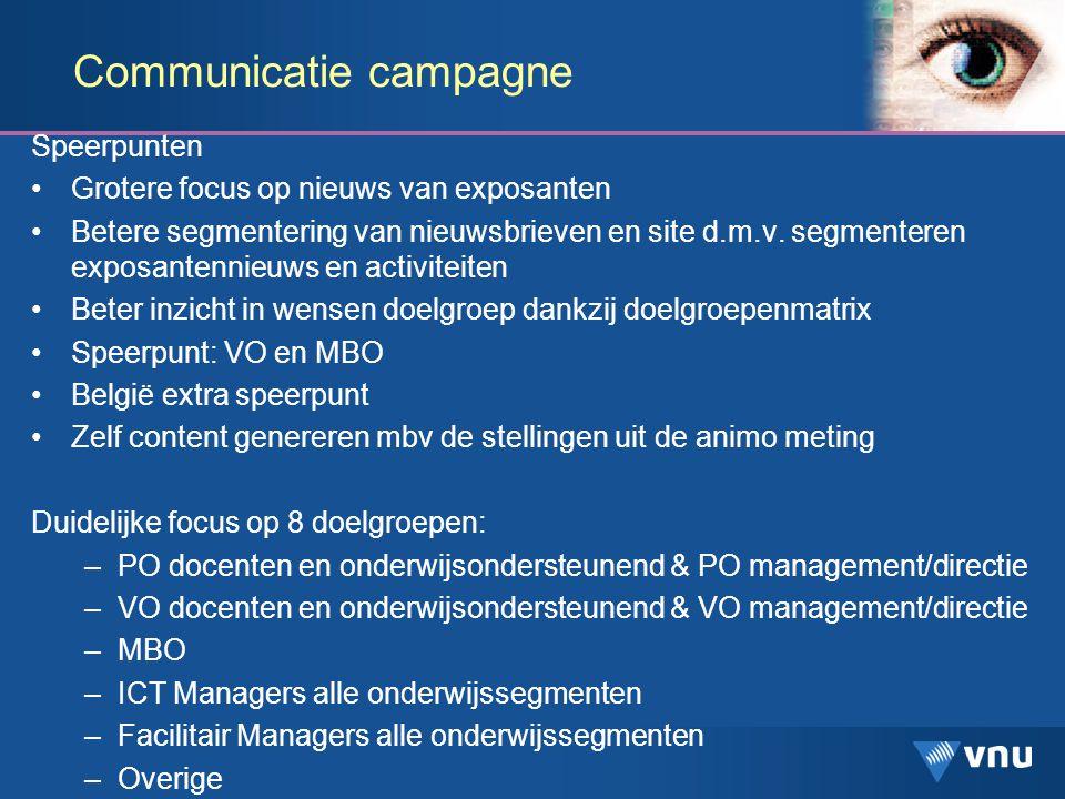 Communicatie campagne Speerpunten Grotere focus op nieuws van exposanten Betere segmentering van nieuwsbrieven en site d.m.v.