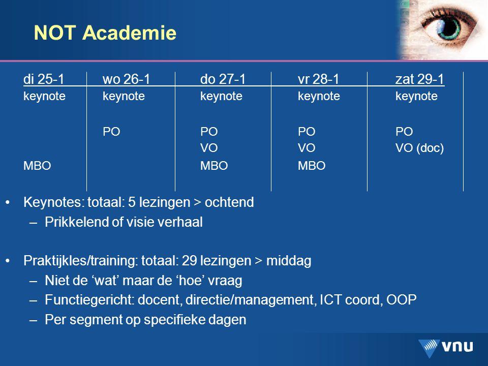NOT Academie, enkele voorbeelden Keynotes: –Infobesitas –Hoe rijk is mijn school.