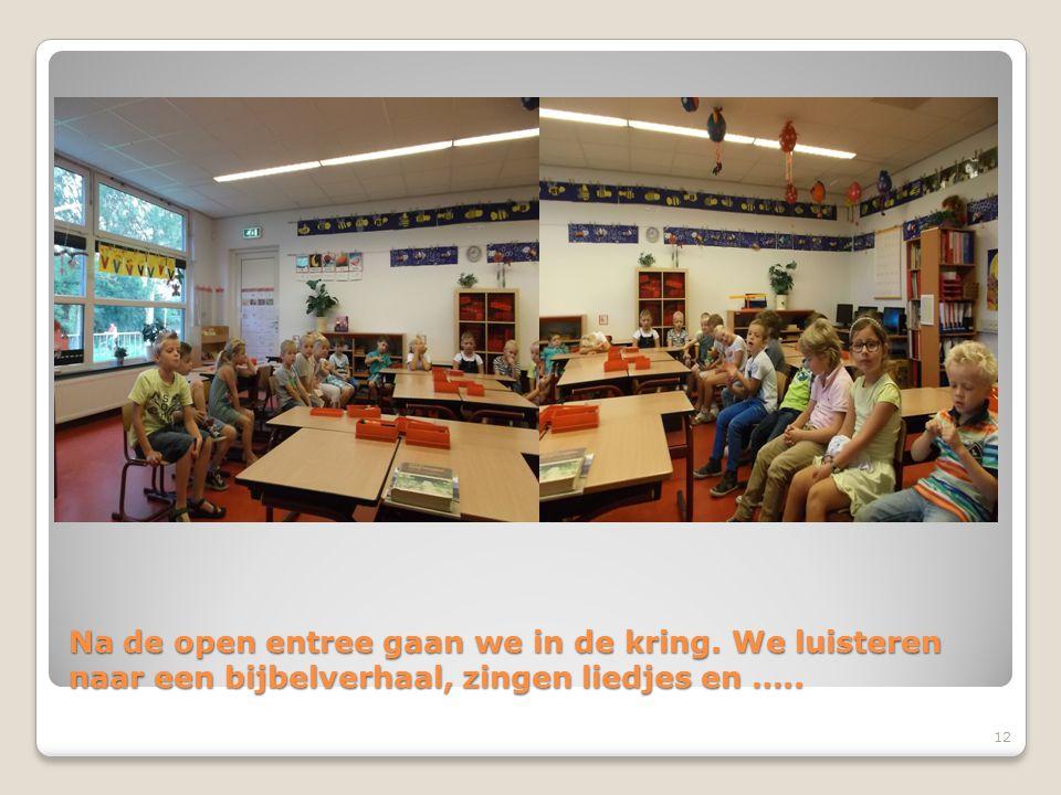Na de open entree gaan we in de kring. We luisteren naar een bijbelverhaal, zingen liedjes en ….. 12