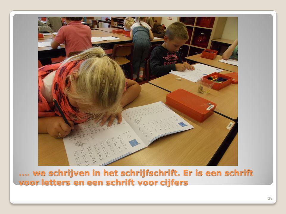 …. we schrijven in het schrijfschrift. Er is een schrift voor letters en een schrift voor cijfers 29