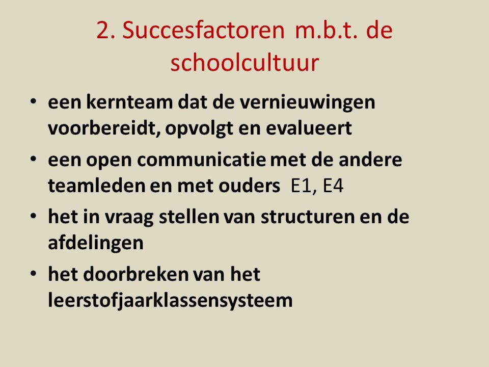 2. Succesfactoren m.b.t. de schoolcultuur een kernteam dat de vernieuwingen voorbereidt, opvolgt en evalueert een open communicatie met de andere team
