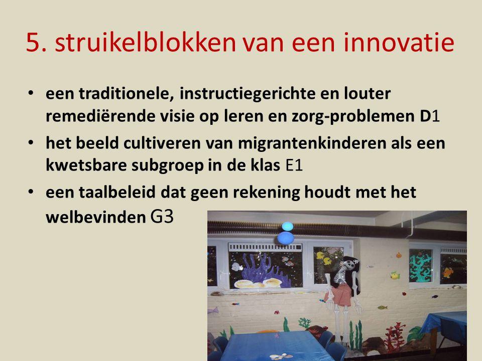 5. struikelblokken van een innovatie een traditionele, instructiegerichte en louter remediërende visie op leren en zorg-problemen D1 het beeld cultive