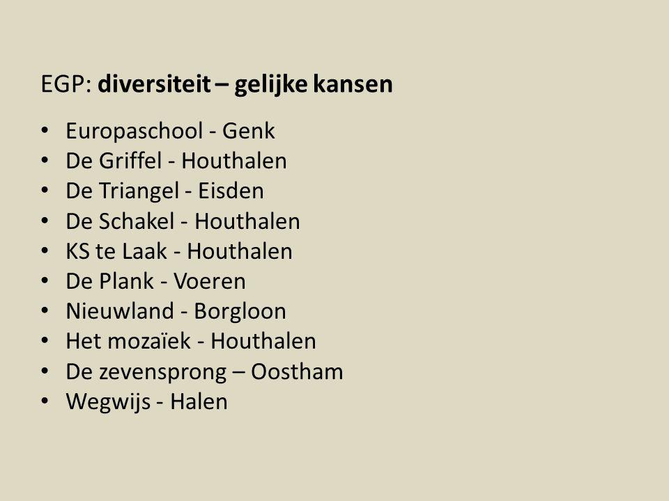 EGP: diversiteit – gelijke kansen Europaschool - Genk De Griffel - Houthalen De Triangel - Eisden De Schakel - Houthalen KS te Laak - Houthalen De Pla