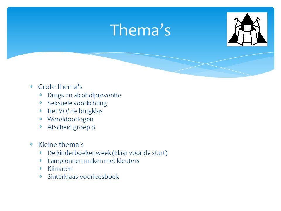  Grote thema's  Drugs en alcoholpreventie  Seksuele voorlichting  Het VO/ de brugklas  Wereldoorlogen  Afscheid groep 8  Kleine thema's  De ki