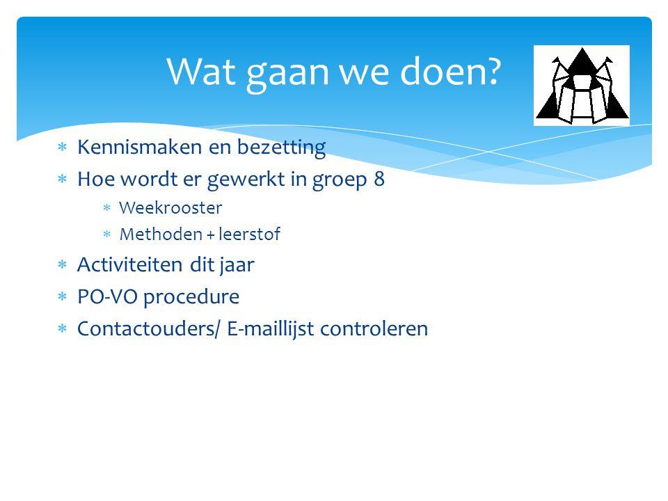  Kennismaken en bezetting  Hoe wordt er gewerkt in groep 8  Weekrooster  Methoden + leerstof  Activiteiten dit jaar  PO-VO procedure  Contactou