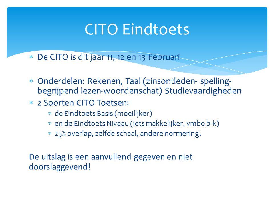  De CITO is dit jaar 11, 12 en 13 Februari  Onderdelen: Rekenen, Taal (zinsontleden- spelling- begrijpend lezen-woordenschat) Studievaardigheden  2