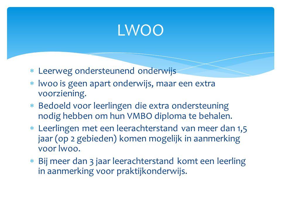  Leerweg ondersteunend onderwijs  lwoo is geen apart onderwijs, maar een extra voorziening.  Bedoeld voor leerlingen die extra ondersteuning nodig