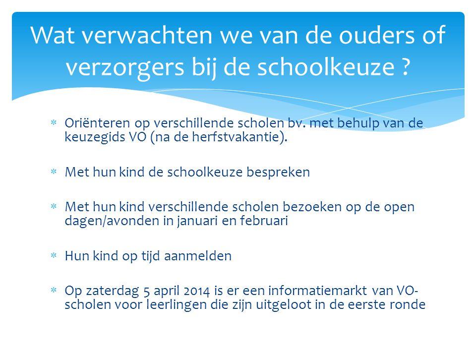  Oriënteren op verschillende scholen bv. met behulp van de keuzegids VO (na de herfstvakantie).  Met hun kind de schoolkeuze bespreken  Met hun kin