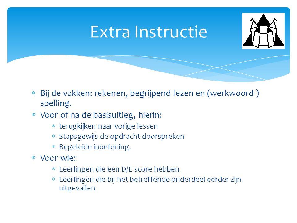  Bij de vakken: rekenen, begrijpend lezen en (werkwoord-) spelling.  Voor of na de basisuitleg, hierin:  terugkijken naar vorige lessen  Stapsgewi