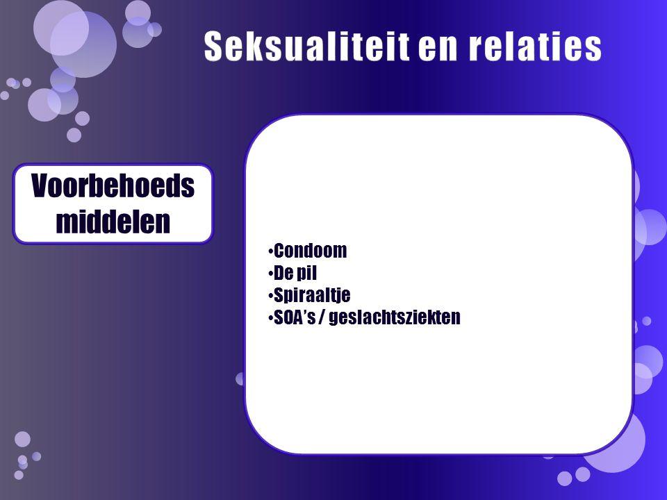 Voorbehoeds middelen Condoom De pil Spiraaltje SOA's / geslachtsziekten