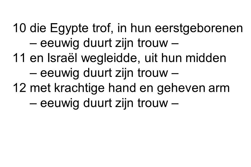 10 die Egypte trof, in hun eerstgeborenen – eeuwig duurt zijn trouw – 11 en Israël wegleidde, uit hun midden – eeuwig duurt zijn trouw – 12 met kracht