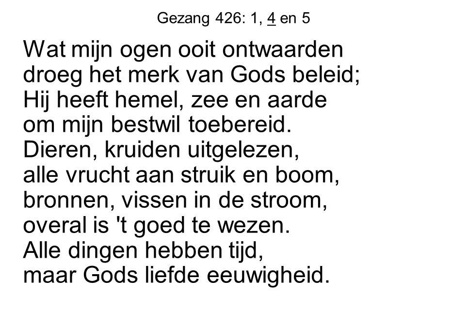 Gezang 426: 1, 4 en 5 Wat mijn ogen ooit ontwaarden droeg het merk van Gods beleid; Hij heeft hemel, zee en aarde om mijn bestwil toebereid. Dieren, k