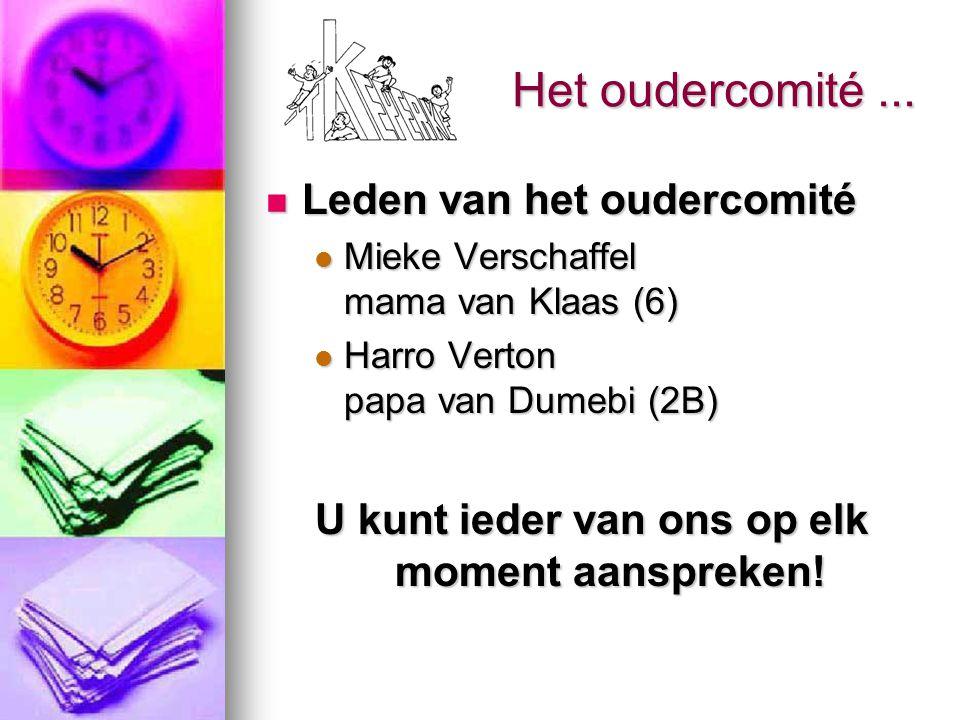 Het oudercomité... Leden van het oudercomité Leden van het oudercomité Mieke Verschaffel mama van Klaas (6) Mieke Verschaffel mama van Klaas (6) Harro