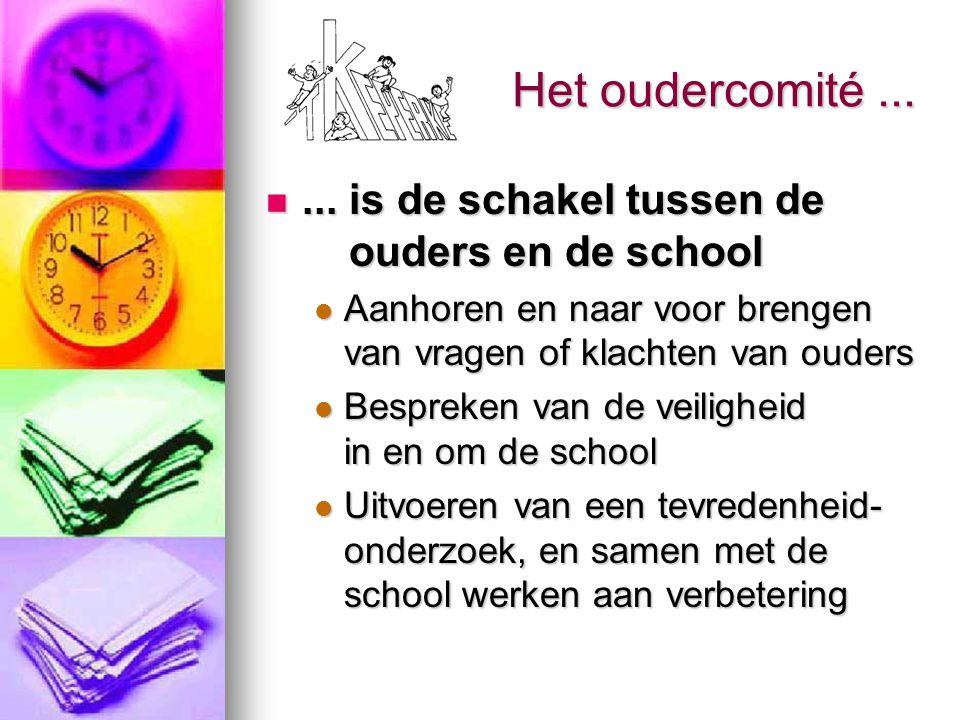 Het oudercomité...... is de schakel tussen de ouders en de school... is de schakel tussen de ouders en de school Aanhoren en naar voor brengen van vra
