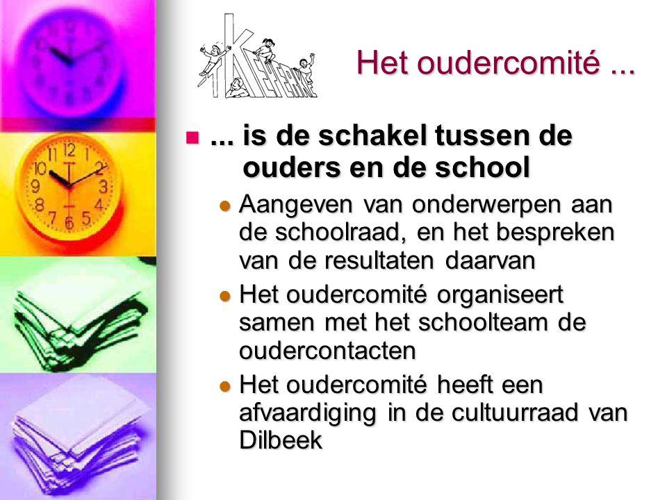 Het oudercomité...... is de schakel tussen de ouders en de school... is de schakel tussen de ouders en de school Aangeven van onderwerpen aan de schoo